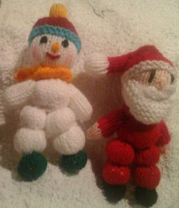 Knitted Santa and snowman